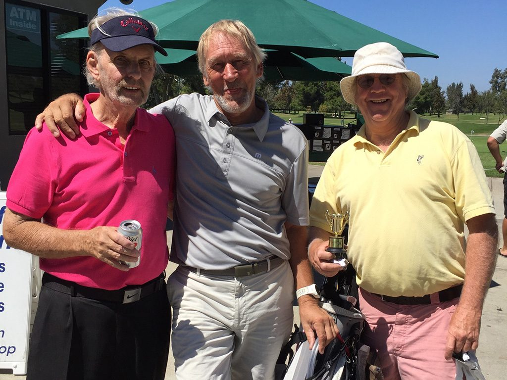 My dad in 2017, along with his golfing buddies Rae Davidson and Pat Mahoney.