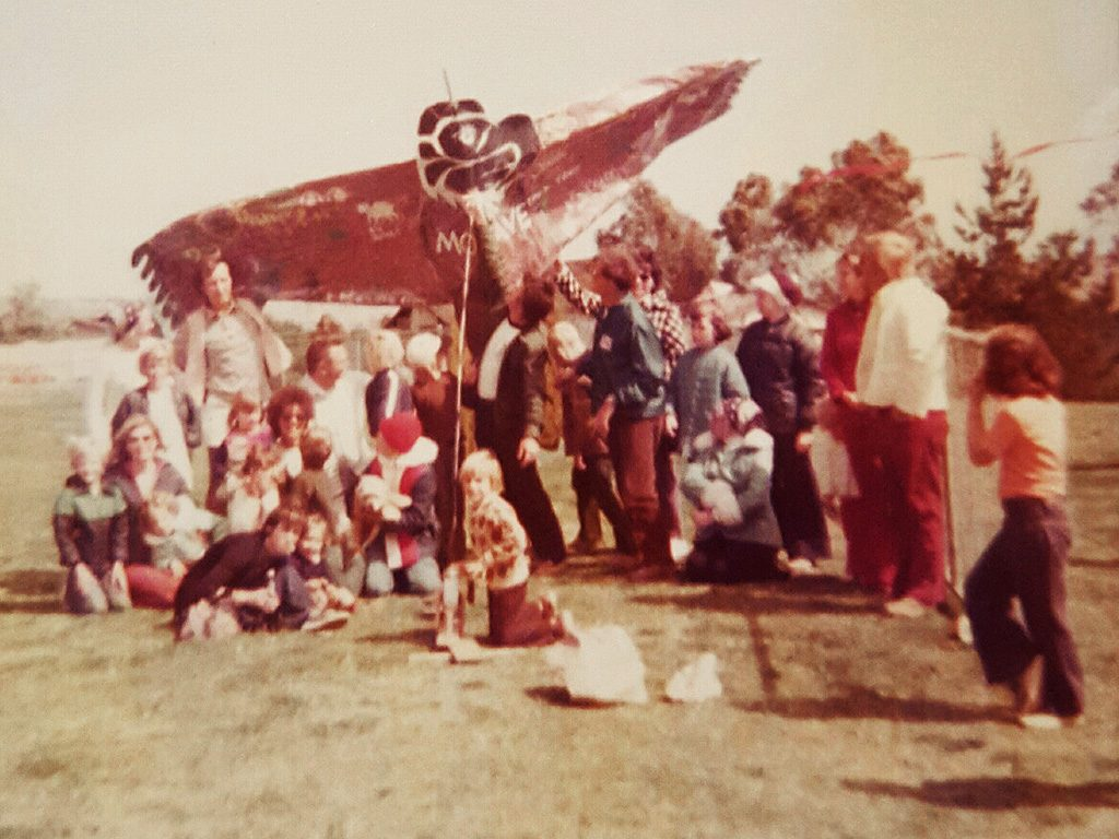 Circa 1976, my dad (back left, standing) helped build this ridiculously large kite for my Indian Guides group. Not quite sure if we got it to actually fly.